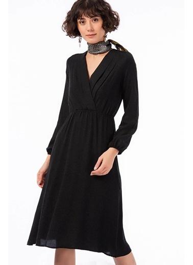 Cottonmood 8422424 Yünviskon Şardon Beli Las.Kruvaze Yaka Pileli Elbise Siyah Siyah
